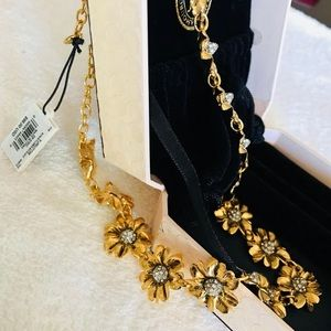 Juicy Couture Antique Gold Flower Necklace - New
